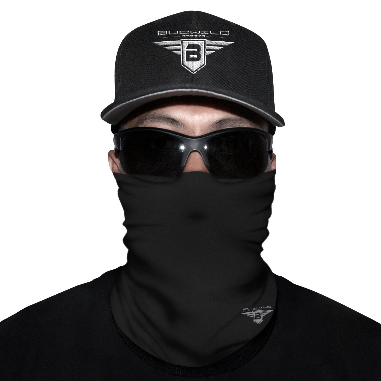 Solid Black Neck Gaiter Face Mask