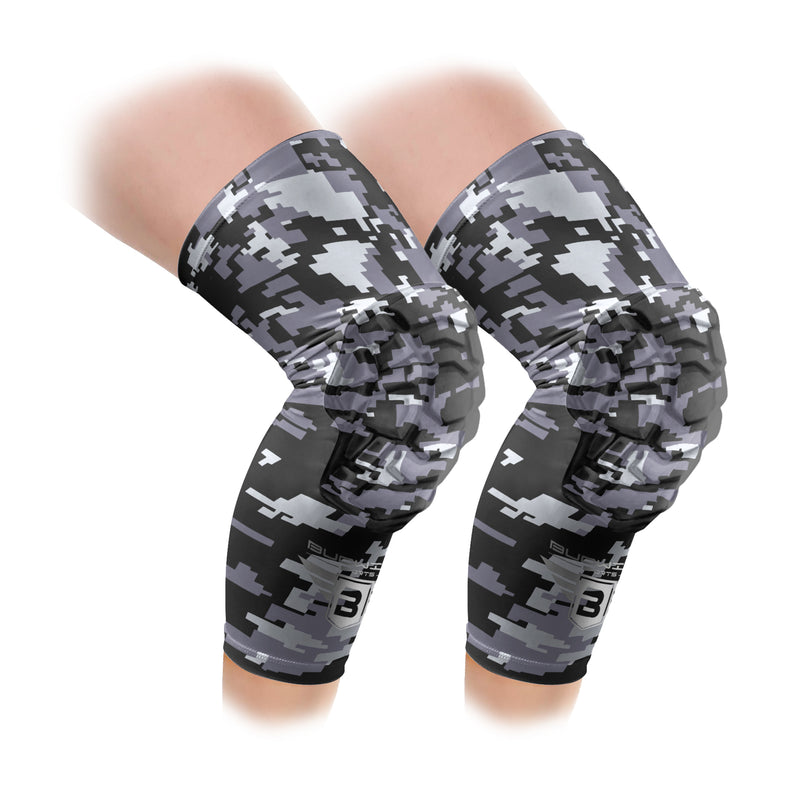 Black Digital Camo Compression Knee Pads - Padded Leg Sleeves (1 Pair)