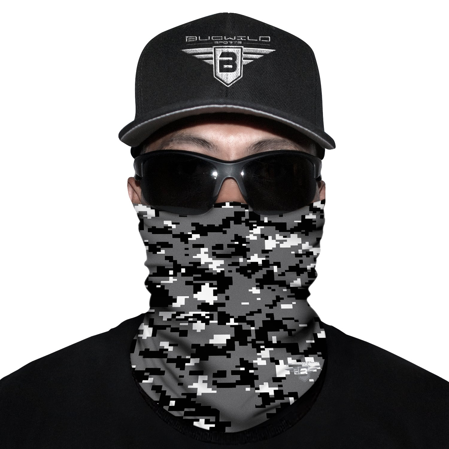 Black Camo Neck Gaiter Face Mask