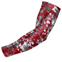 Maroon - Gray Digital Camo Arm Sleeve