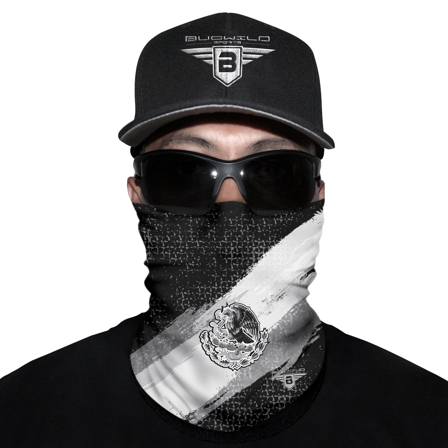 Mexico Black Flag Neck Gaiter Face Mask