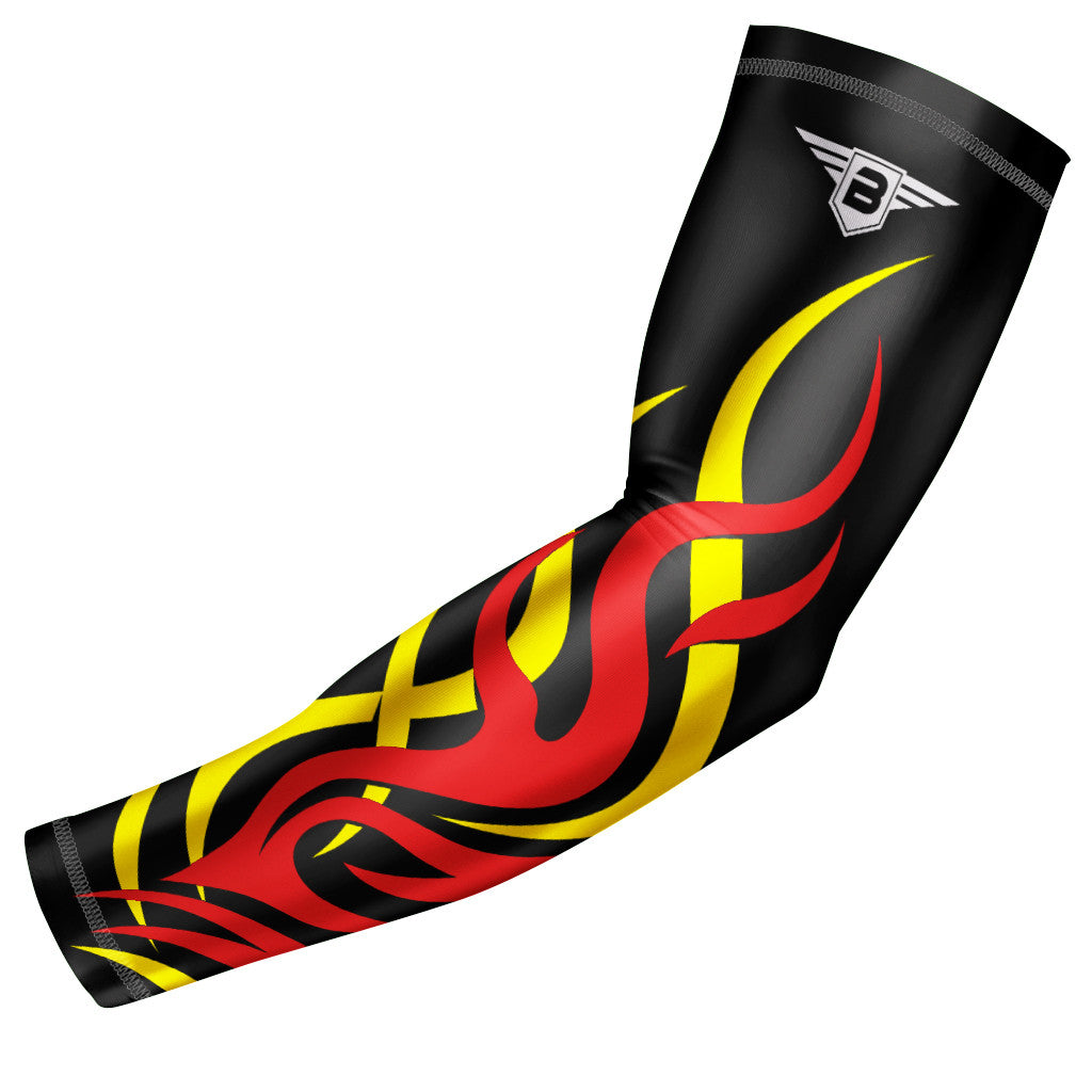 Black - Yellow Flame Compression Arm Sleeve