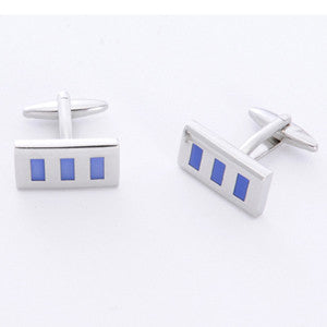 Dashing Cuff Links with Personalized Case - Blue Rectangle