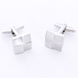 Dashing Cuff Links with Personalized Case - Silver Square