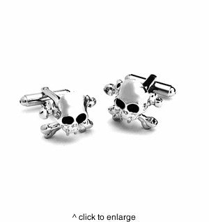 Dashing Cuff Links with Personalized Case - Skull X Bones