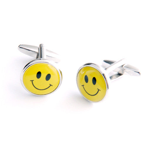 Dashing Cuff Links with Personalized Case - Smiley Face