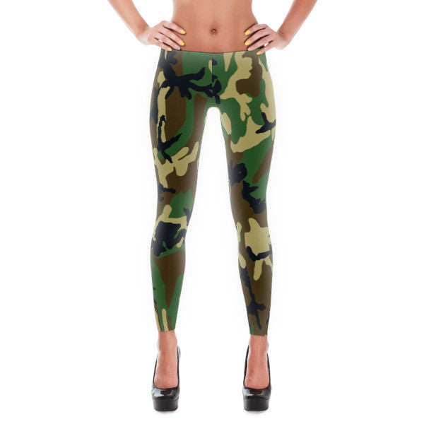 Army Green Black Brown Camouflage Leggings