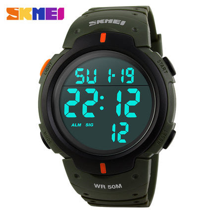 Men's Sports Watch Dive 50m Digital LED Military  * FREE SHIPPING