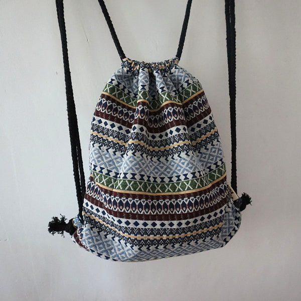 Women Vintage Backpack Gypsy Bohemian Aztec Folk Tribal Ethnic Fabric Brown String Drawstring