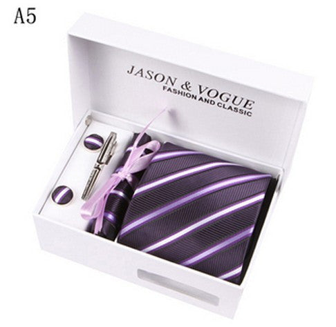 Mans Ties Blue White Checks Neckwear Jacquard Woven Necktie Set Cufflink Hanky Business
