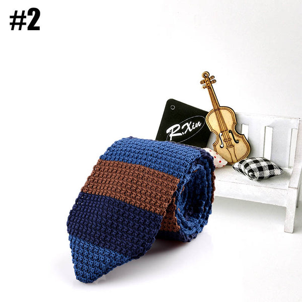 Knitted Ties Neck Ties / Narrow Skinny Neckties For Men Striped Ties