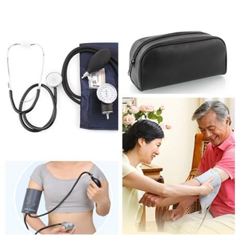 Professional Medical Aneroid Blood Pressure Monitor Kit Cuff Stethoscope w/ Pouch * FREE SHIPPING