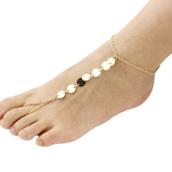 Beach Gold Alloy Sequins Women Adjustable Barefoot Sandals Anklet Bracelet Chain Feet Jewelry #LYW