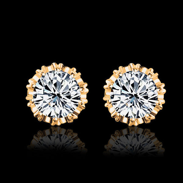 2 Carat Cubic Zircon CZ  Crown Stud Earrings * FREE SHIPPING