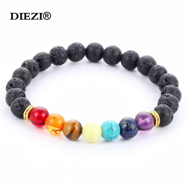 New 2016 Design Men / Women Bracelets Black Lava 7 Chakra Healing Balance Beads Rhinestone Reiki Prayer Stones
