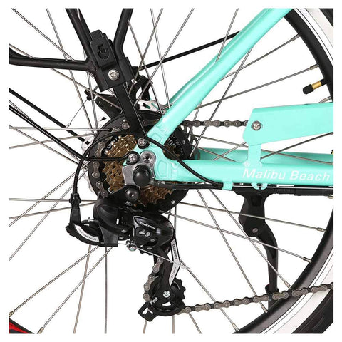 Image of malibu elite teal green rear sprocket and derailleur
