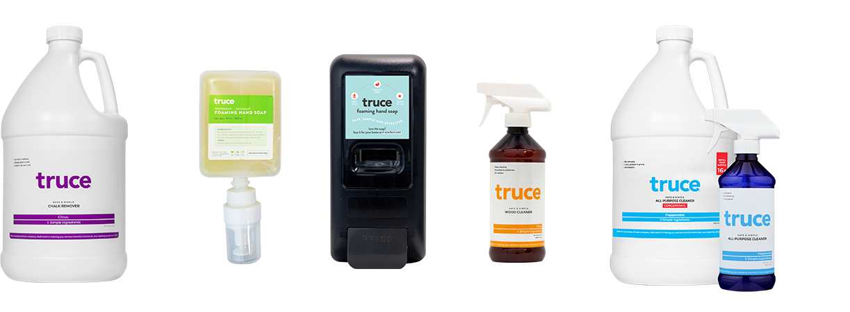 truce cleaning products in a line