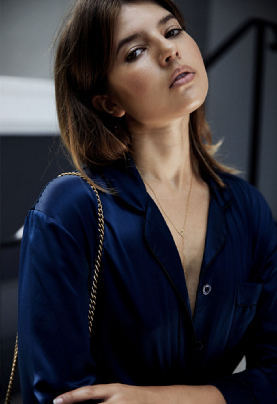 Talisa Sutton Badlands Studio Navy Natalija Silk Shirt Pyjamas