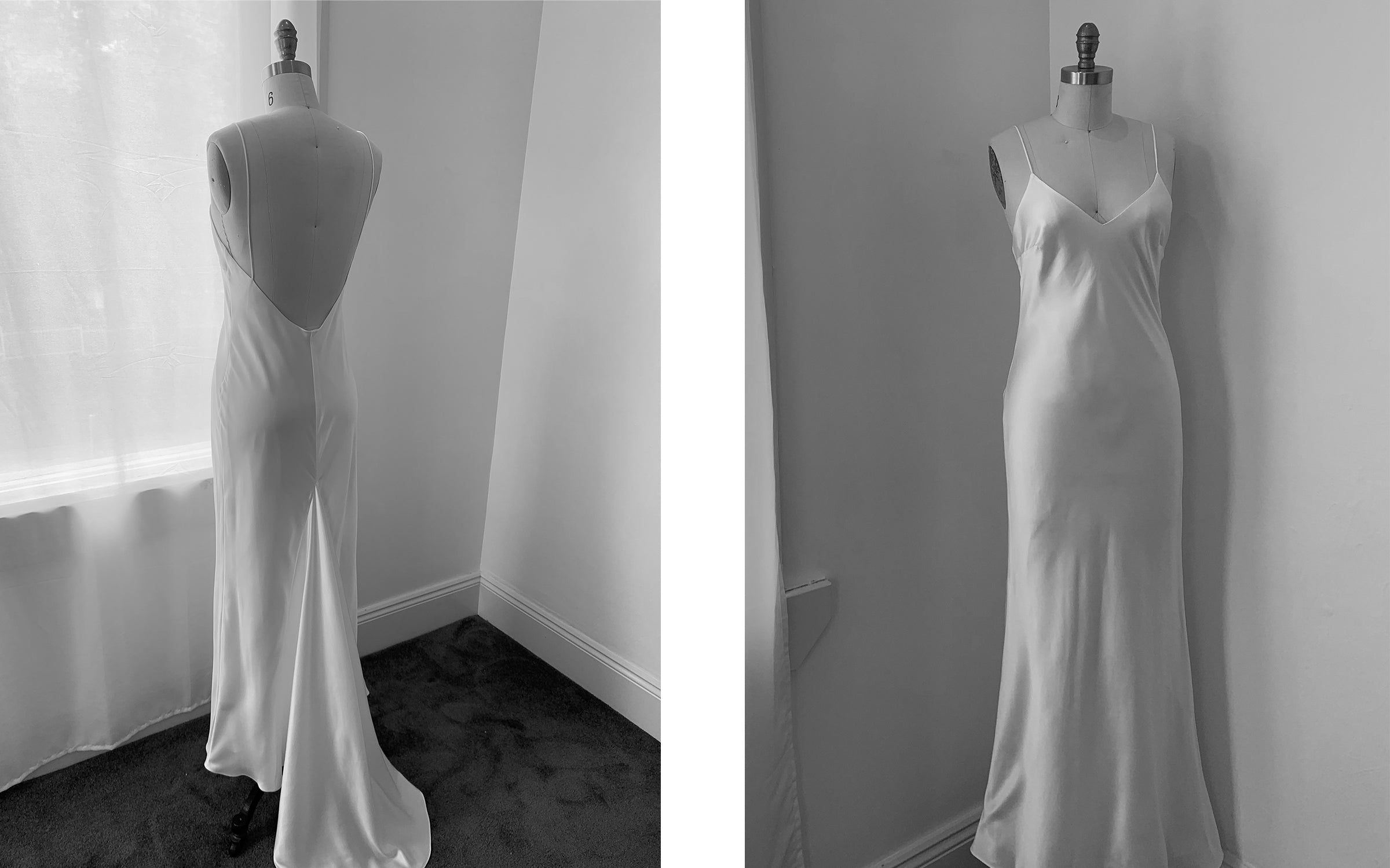 silk wedding dress simple shape slip design
