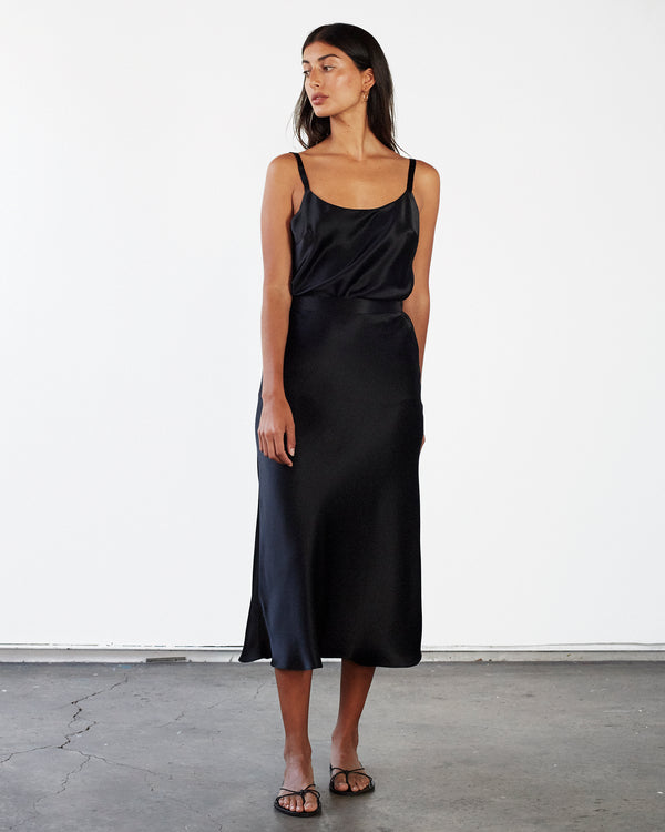 Scoop Neck Silk Cami - Black