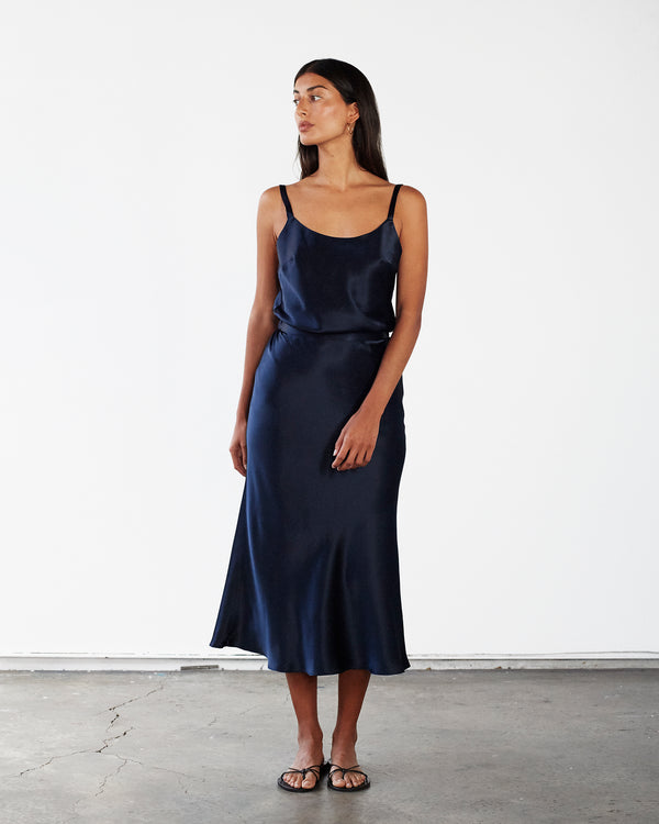 Scooped Neck Silk Cami - French Navy