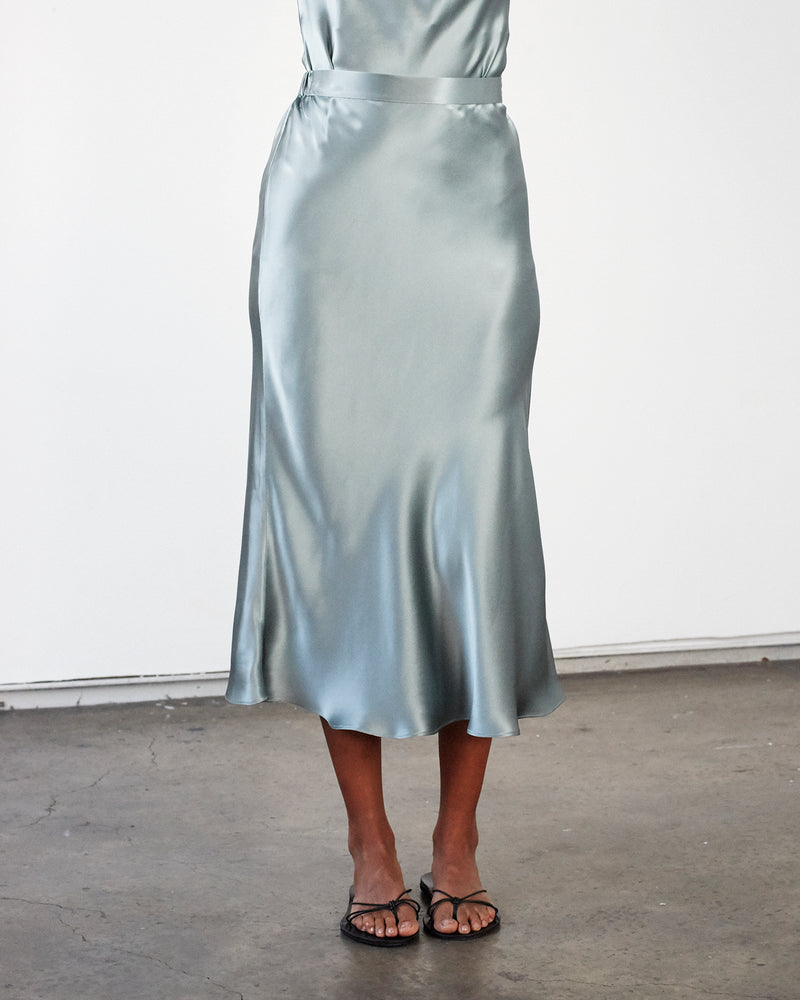 Silk Satin Slip Skirt - Sage