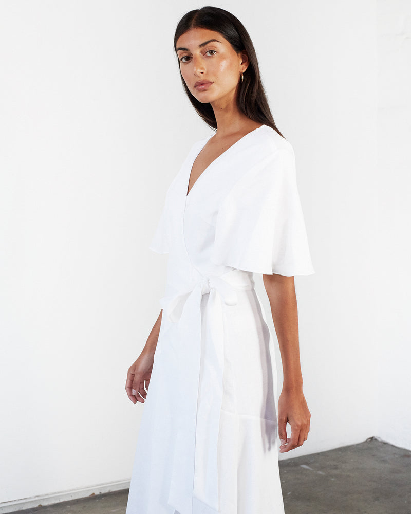 Linen Wrap Dress - White