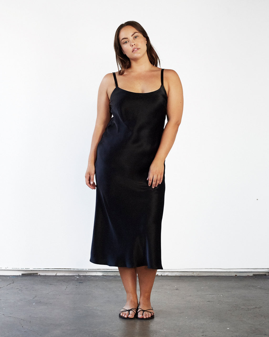 Scoop Neck Slip Dress Black