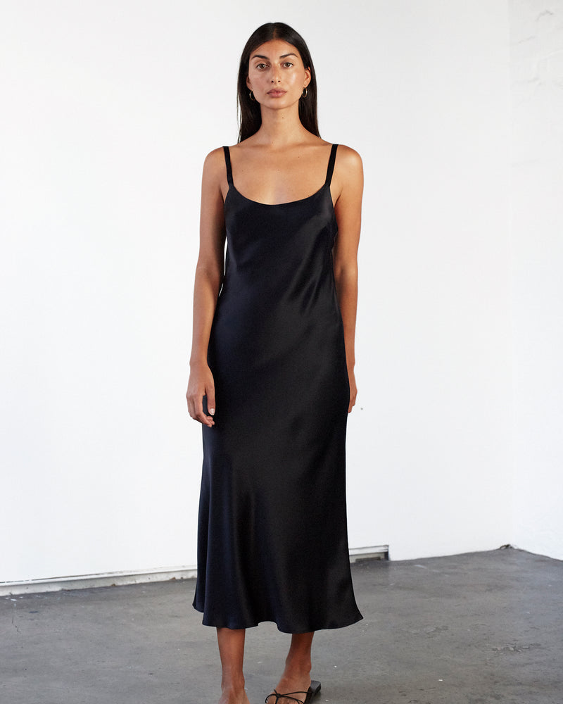 Scoop Neck Slip Dress - Black