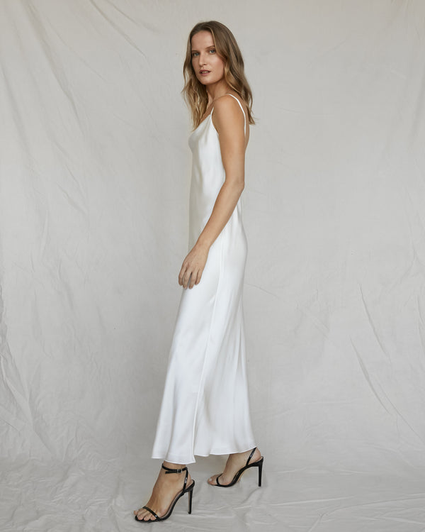 Draped Low Back Silk Dress - White