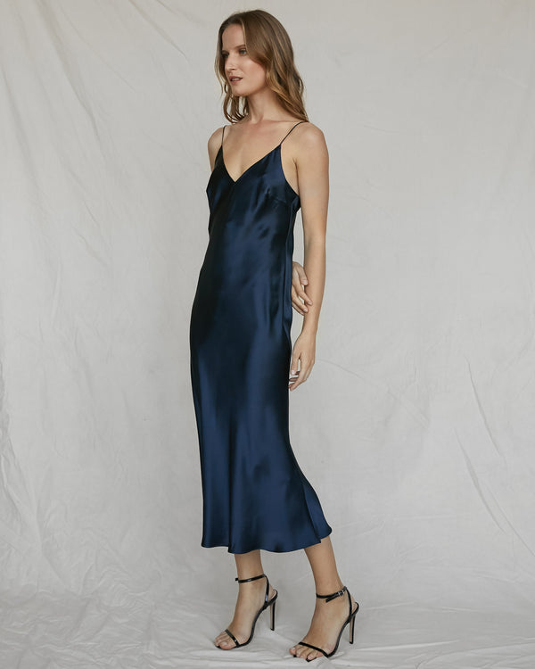 Silk Slip Dress - French Navy