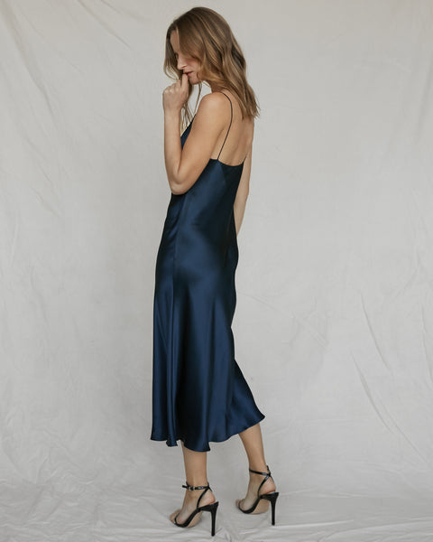 Silk Slip Dress French Navy
