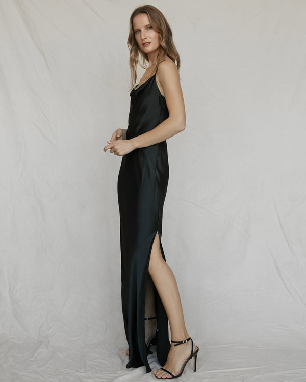 Draped Long Silk Slip - Black