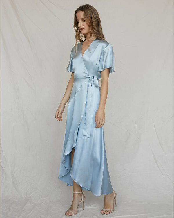 Silk Wrap Dress - Powder Blue