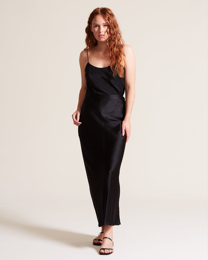 Silk Satin Slip Skirt - Black