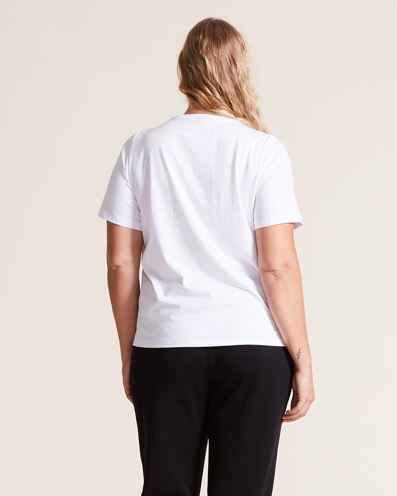 women wearing white organic cotton t-shirt