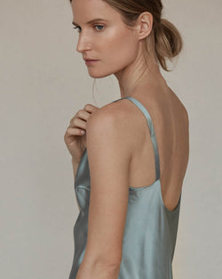 Scoop Neck Silk Cami - Sage
