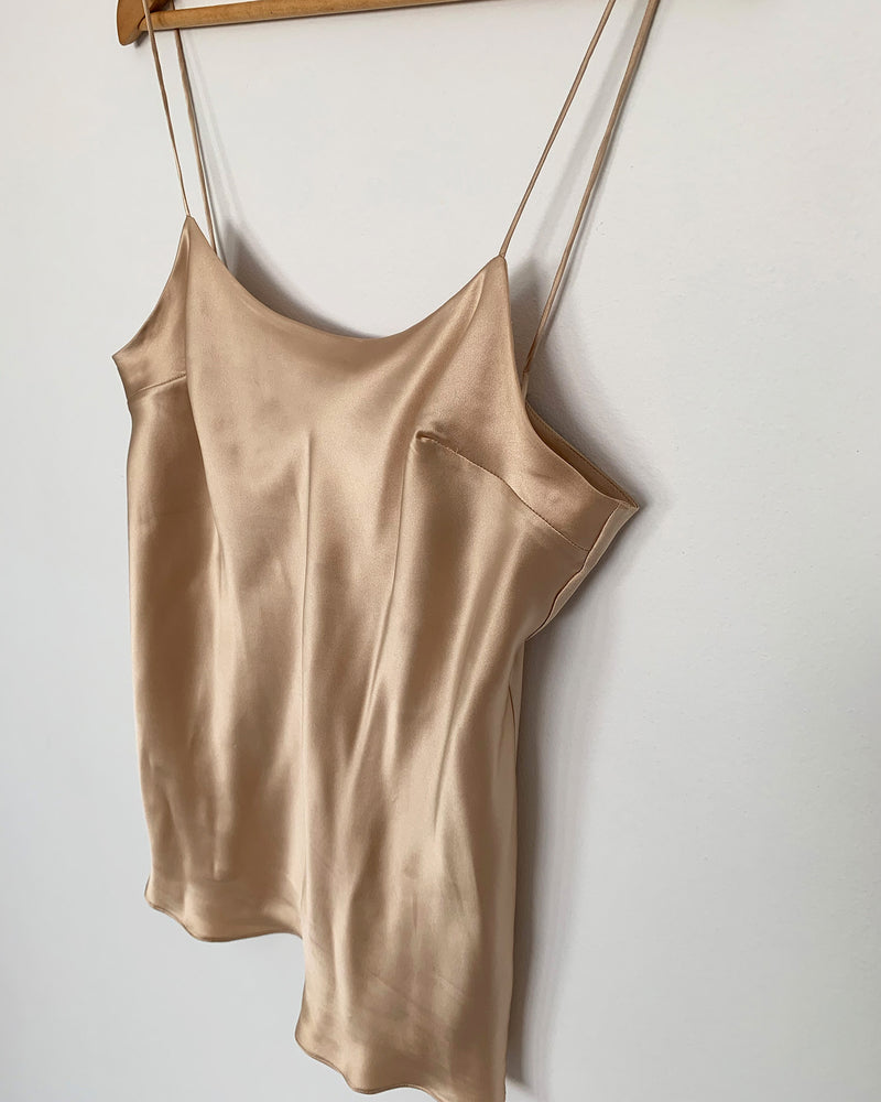 woman wearing silk camisole spaghetti strap top