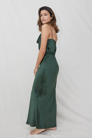 pure silk satin slip skirt maxi forest green olive