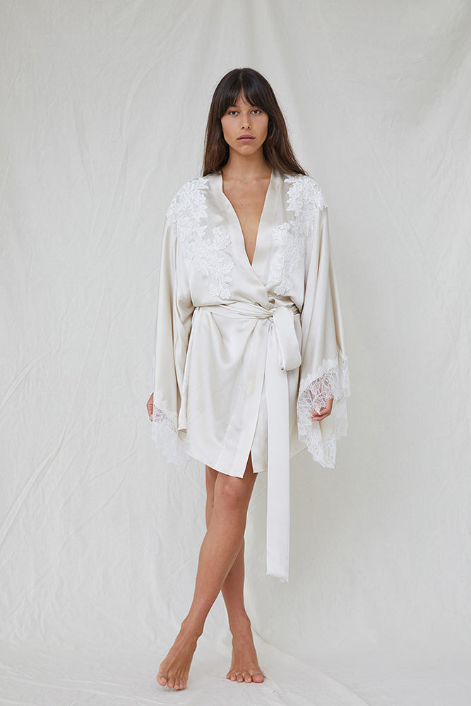 Lace Detail Silk Robe - Oyster