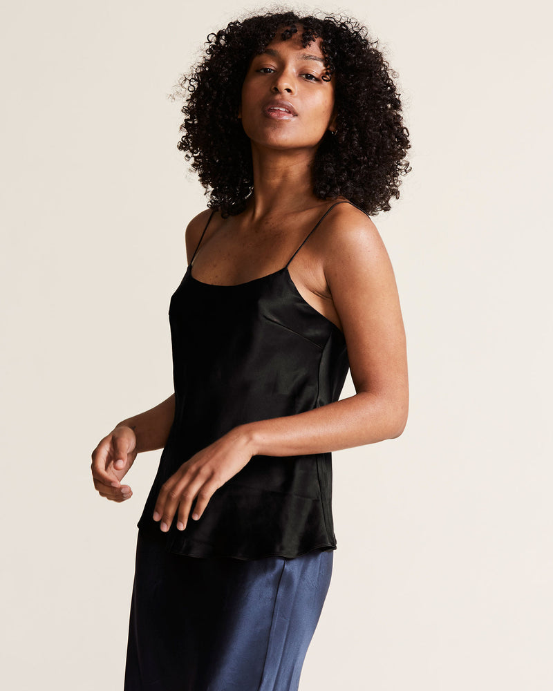 woman wearing black silk cami top