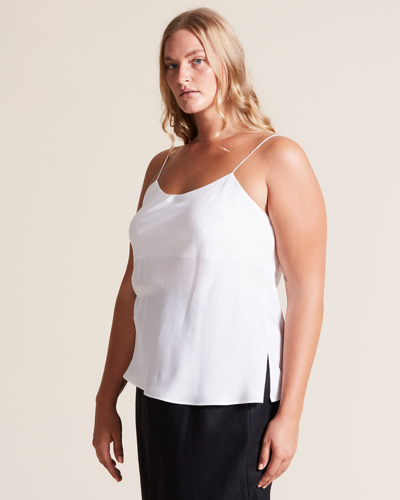 woman wearing white silk cami top customised
