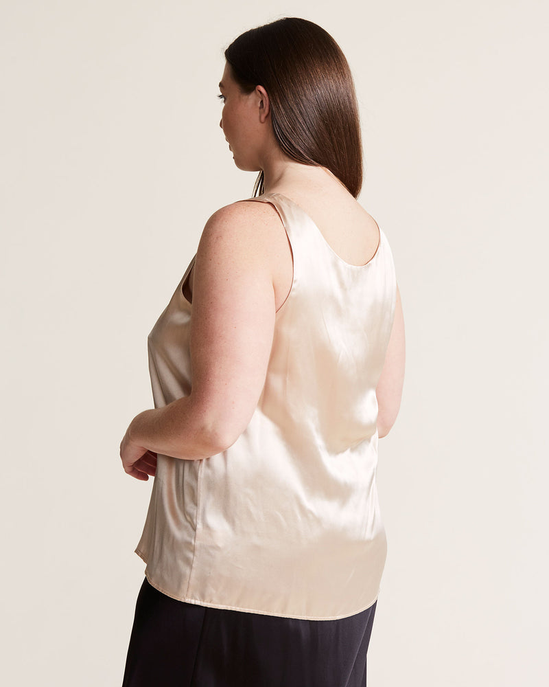 woman wearing silk tank cami top