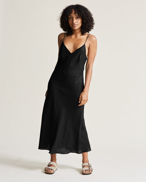 Linen V-Neck Slip Dress - Black
