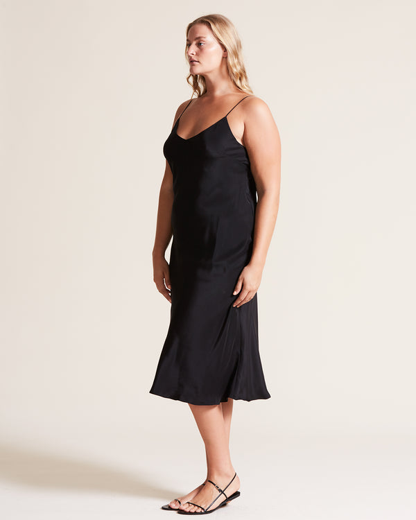 V-Neck Silk Slip Dress - Black