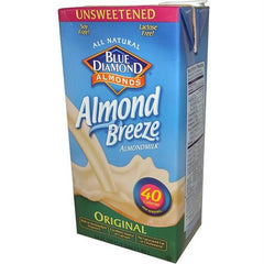 Blue Diamond Original Almond Breeze Unsweetened (12x32 Oz) - Rhea Manor Natural Market