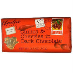 Chocolove Dark Chilies & Cherry Bar (12x3.2 Oz) - Rhea Manor Natural Market