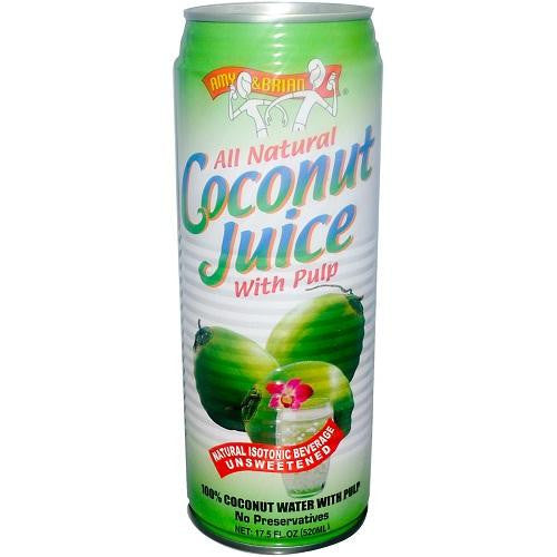 Amy & Brian Natural Coconut Juice With Pulp (12x17.5 Oz) - Rhea Manor Natural Market