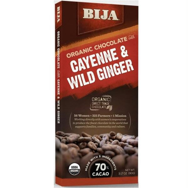 Bija Cayenne And Wild Ginger Chocolate Bar (10x3.17 Oz) - Rhea Manor Natural Market