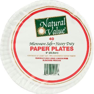 Natural Value Rcy Paper Plate 9 In (24x40cnt ) - Rhea Manor Natural Market
